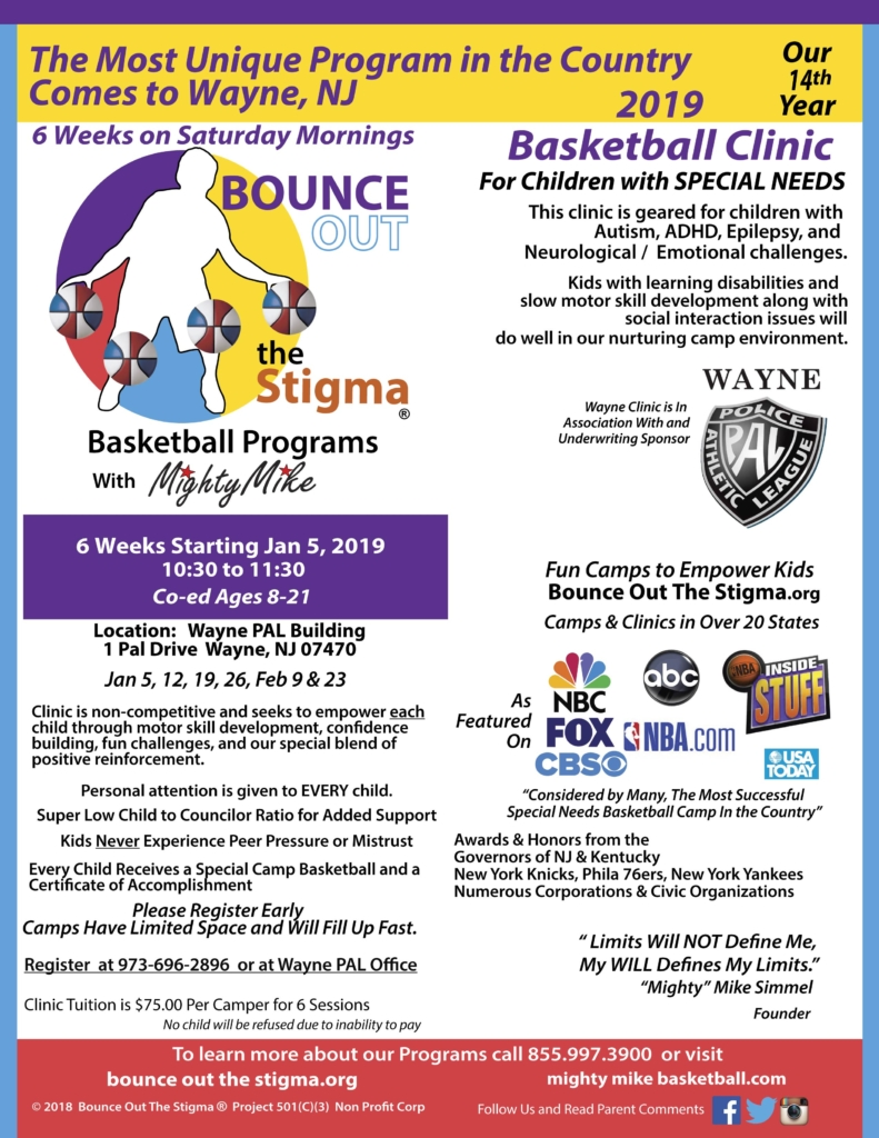Bounce Out the Stigma Special Needs Saturday Basketball Clinic Wayne