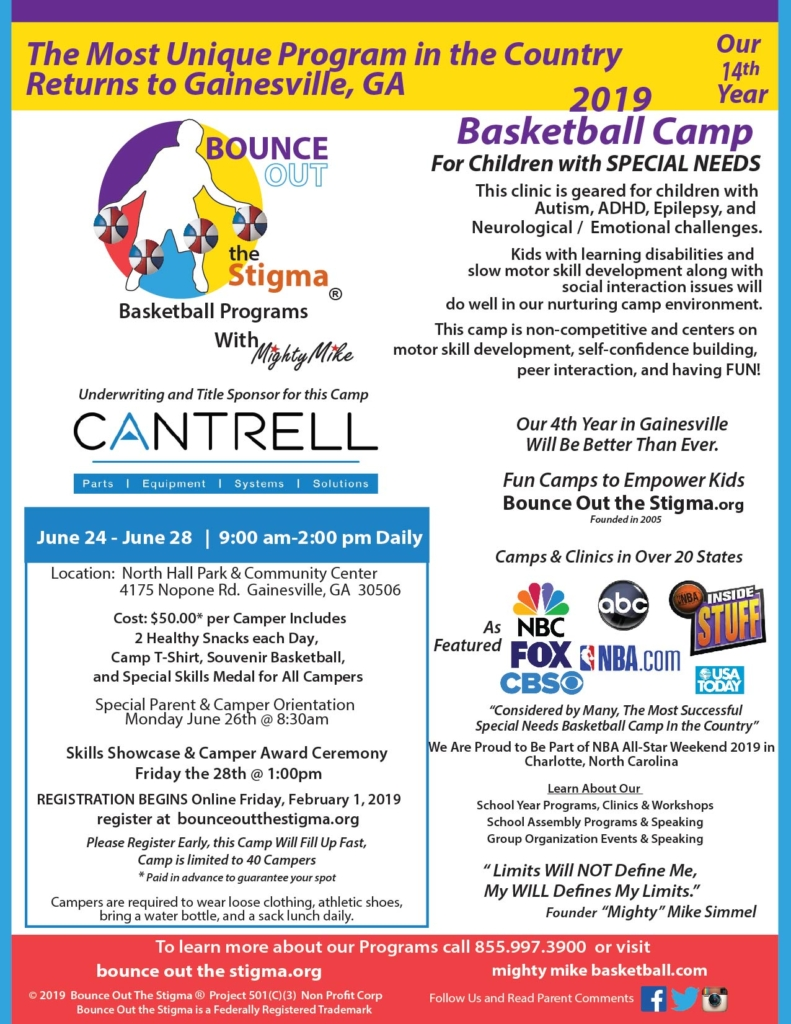 Gainesville, GA Special Needs Basketball Camp Ages 8-21